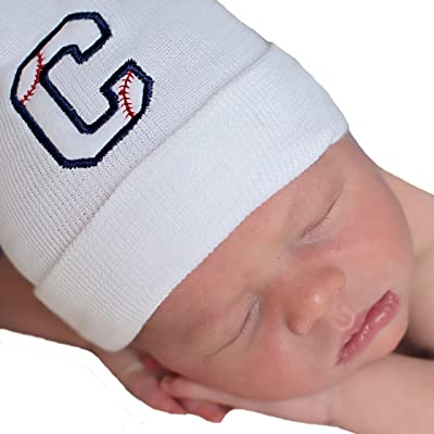 c5d0afabb98 Melondipity Baseball Initial Baby Boy Hospital Hat - Personalized Newborn  Hat