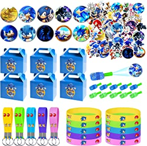 Sonic the Hedgehog Party Supplies for Kids, 100 Pcs Party Favors - Gift Box, Bracelet, Key Chain, Button Pins, Stickers, Finger Light for Kids Themed Party