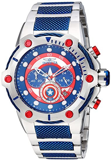 Amazon.com: Invicta Mens Marvel Quartz Watch with Stainless-Steel Strap, Two Tone, 29.65 (Model: 25780: Watches
