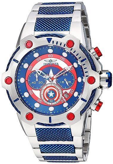 Invicta 25780 Marvel - Captain America Reloj para Hombre acero inoxidable Cuarzo Esfera azul: Amazon.es: Relojes