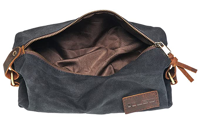 mens travel toiletry bag leather