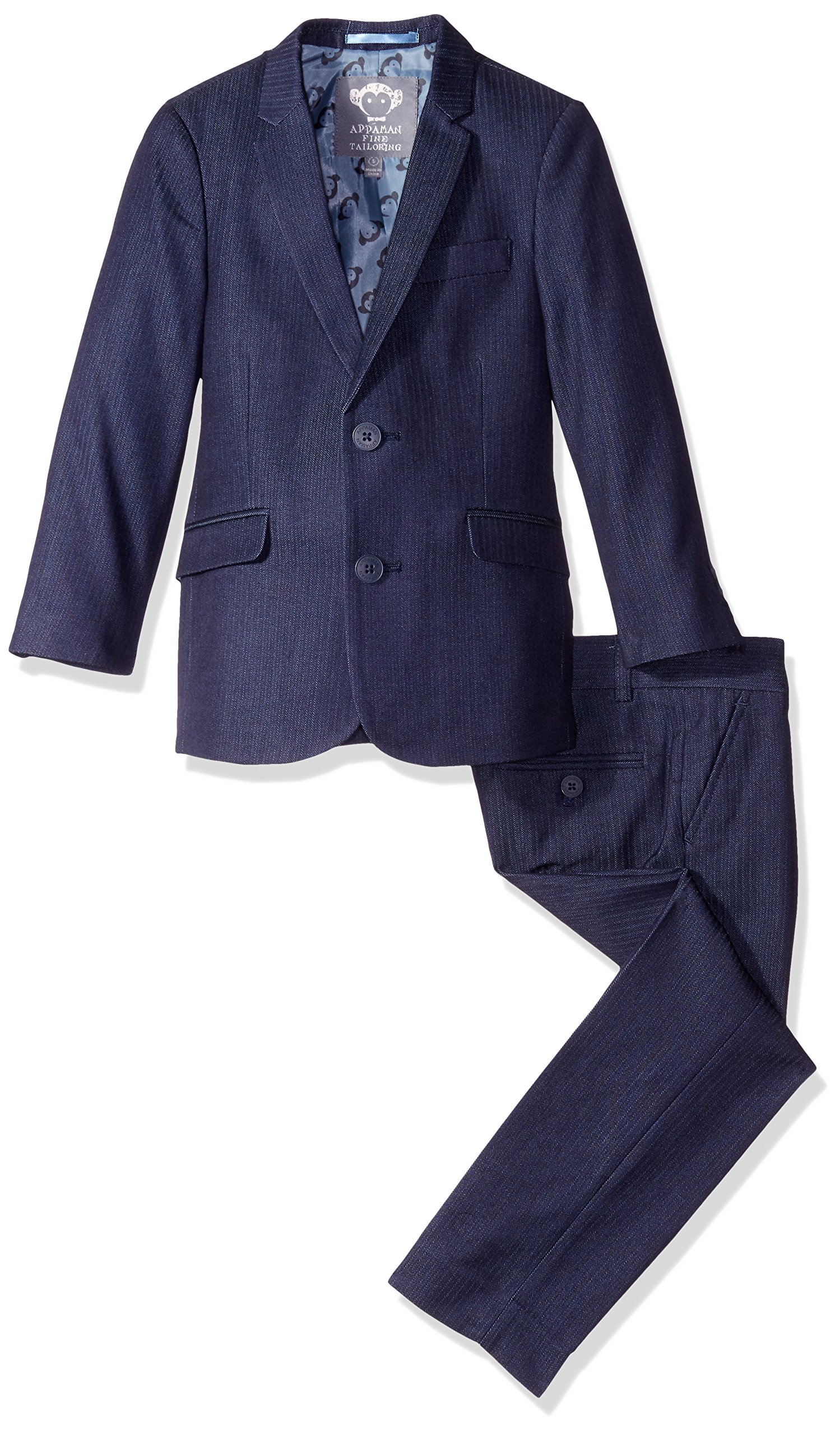 Appaman Little Boys' Toddler Mod Suit, Navy Herringbone, 3