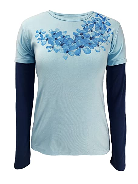 fa77a525c Green 3 Ombre Flower Necklace Long Sleeve 2 in 1 Tee (Light Blue ...