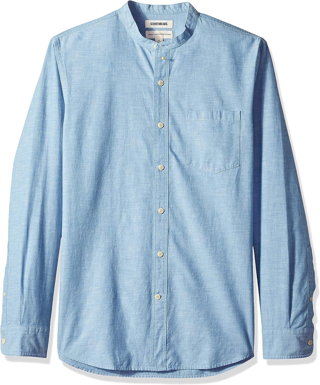 Marca Amazon - Goodthreads – Camisa de manga larga de cambray con cuello en banda de corte estándar para hombre