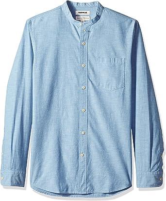 Marca Amazon - Goodthreads – Camisa de manga larga de cambray con cuello en banda de corte estándar para hombre: Amazon.es: Ropa y accesorios