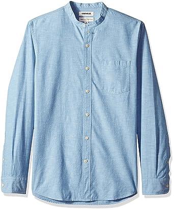 788bb51af1f2 Goodthreads Men's Standard-Fit Long-Sleeve Band-Collar Chambray Shirt, -blue