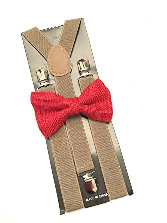 257eb6e44 Red Burlap Bow tie and Suspenders Formal weddings Tuxedo Prom Mens ...