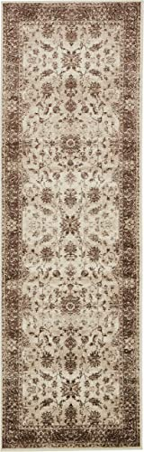 Unique Loom Rushmore Collection Traditional White Tone-on-Tone Cream Runner Rug 3 0 x 9 10