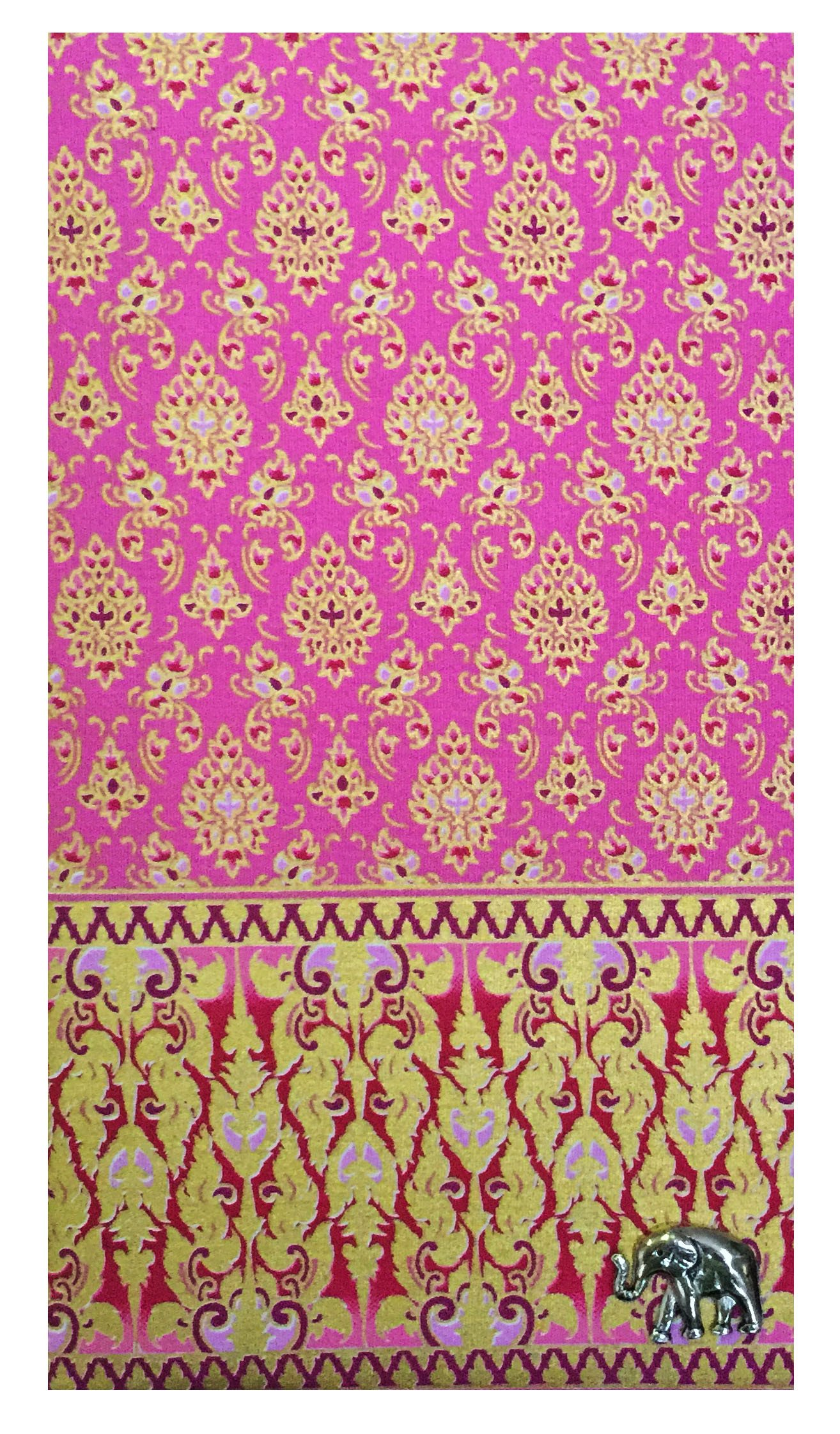Pink & Gold Thai Patterned Guest Check Presenter, Check Holder for Restaurant, Guest Check Book Holder, Waitstaff Organizer, Restaurant Server Book (With Plastic Cover)