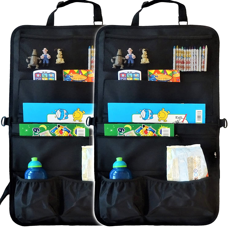 Auto Organizer & Sitzschoner für Kinder – mit dem vielfältigen Rücksitz Organizer mit 7 XL Taschen reisen Sie länger in angenehmer Ruhe & sorgen für mehr Ordnung im Auto