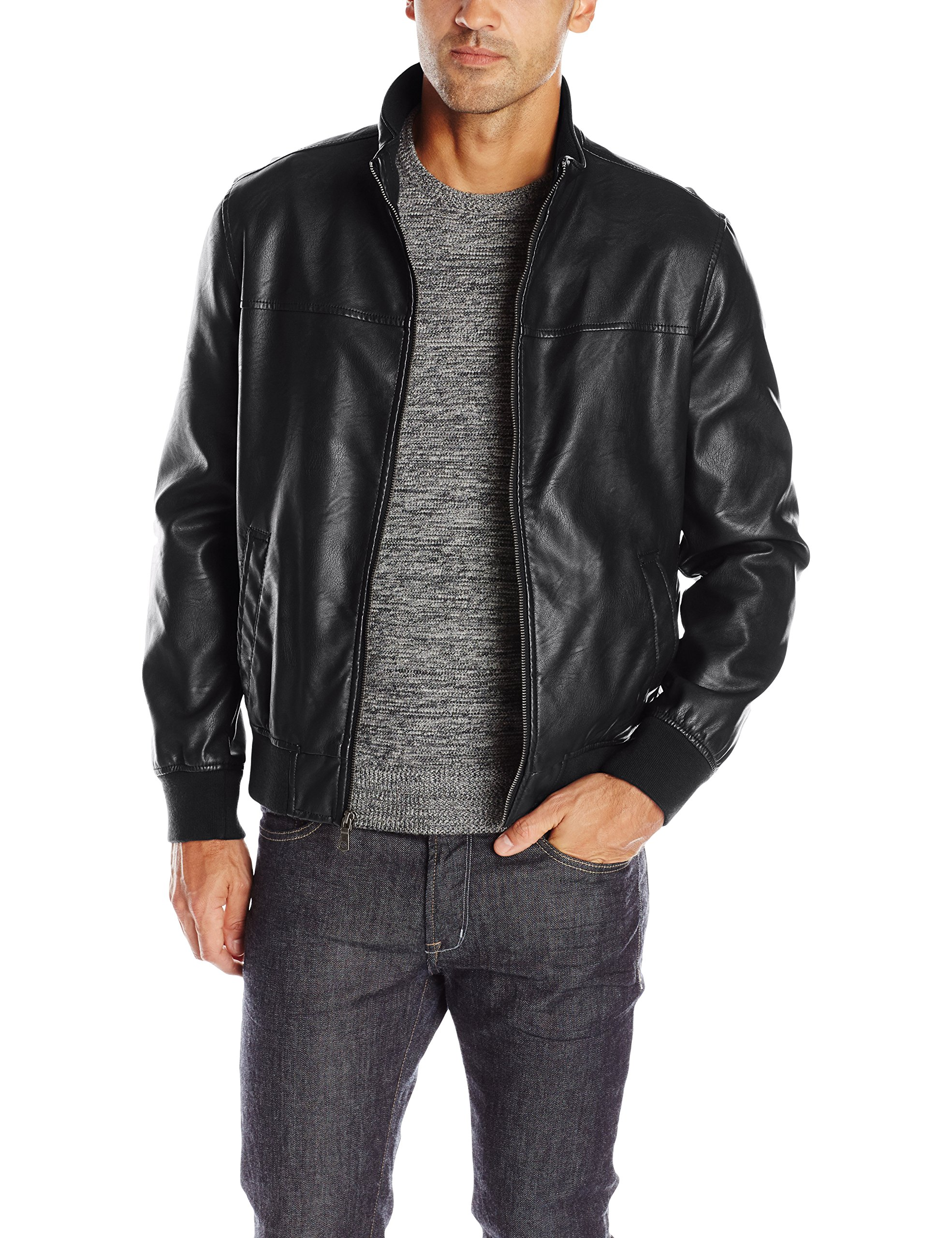 Tommy Hilfiger Men's Smooth Lamb Touch Faux Leather Unfilled Bomber, Black, L by Tommy Hilfiger