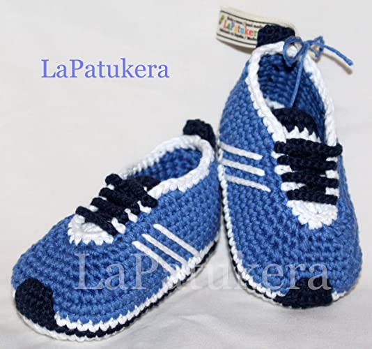 Baby Stivaletti Uncinetto Unisex Stile Adidas Blu 100 Cotone