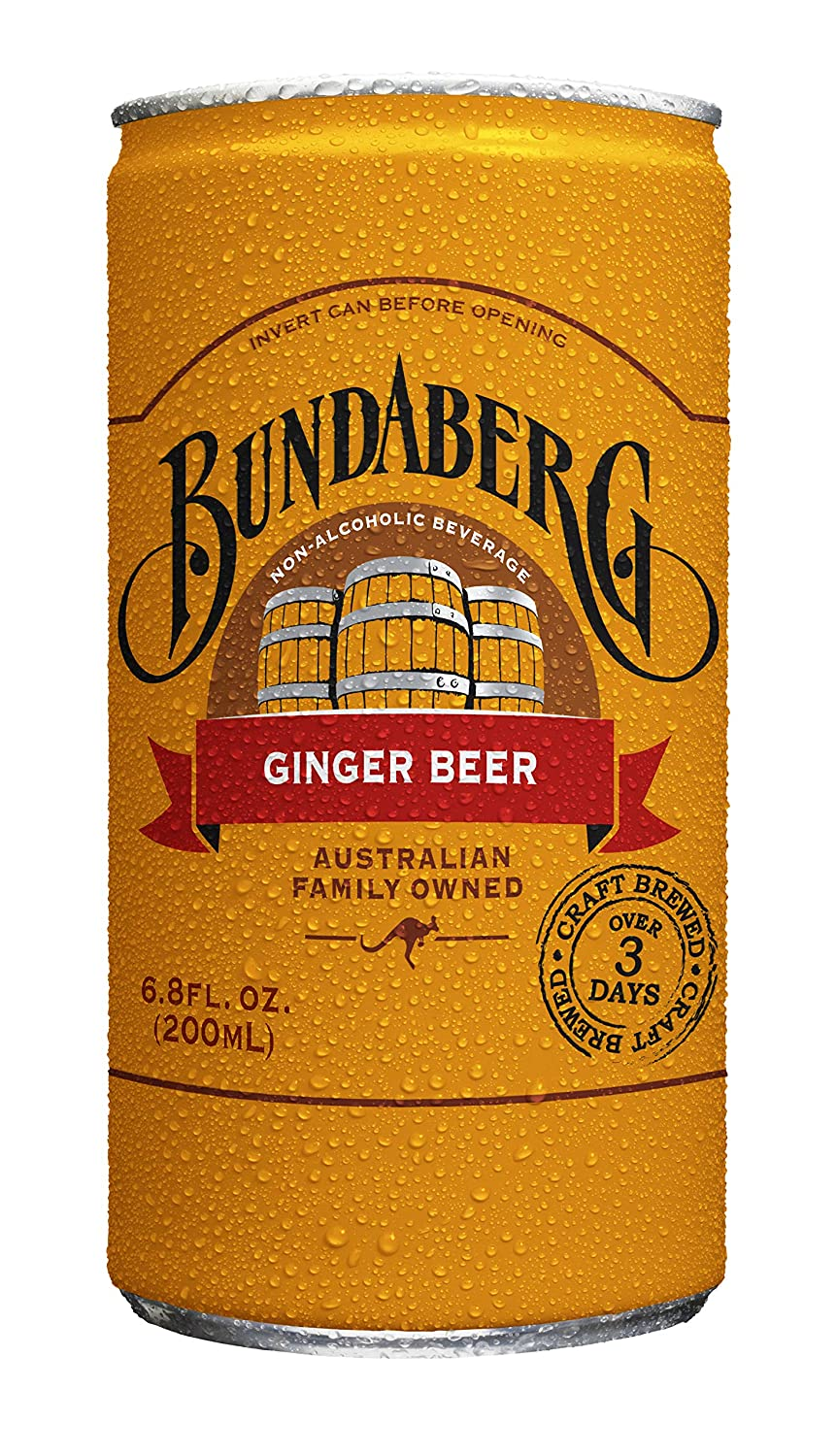Bundaberg Ginger Beer, 6.8 fl oz Cans, (24 Pack)