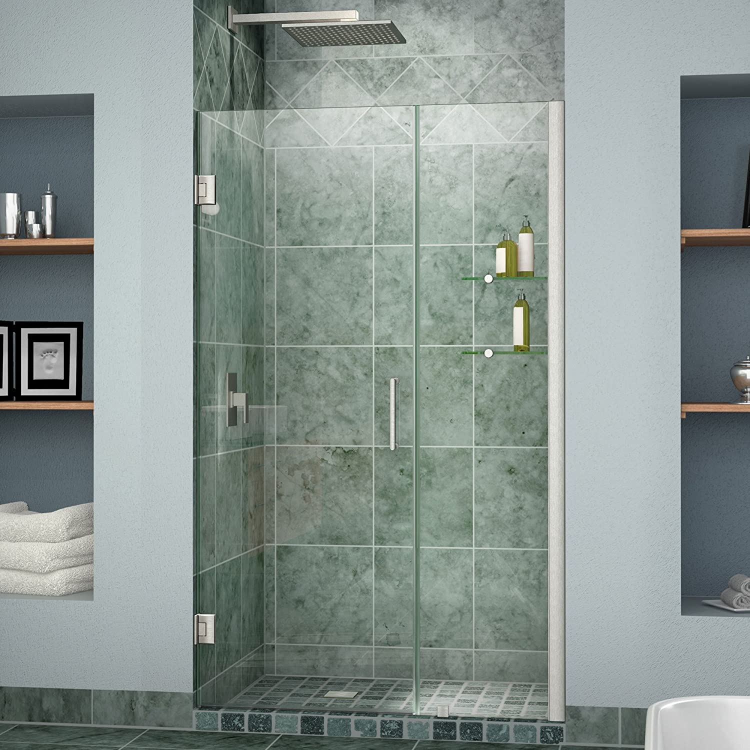 DreamLine Unidoor 41-42 in. Width, Frameless Hinged Shower Door, 3/8 ...