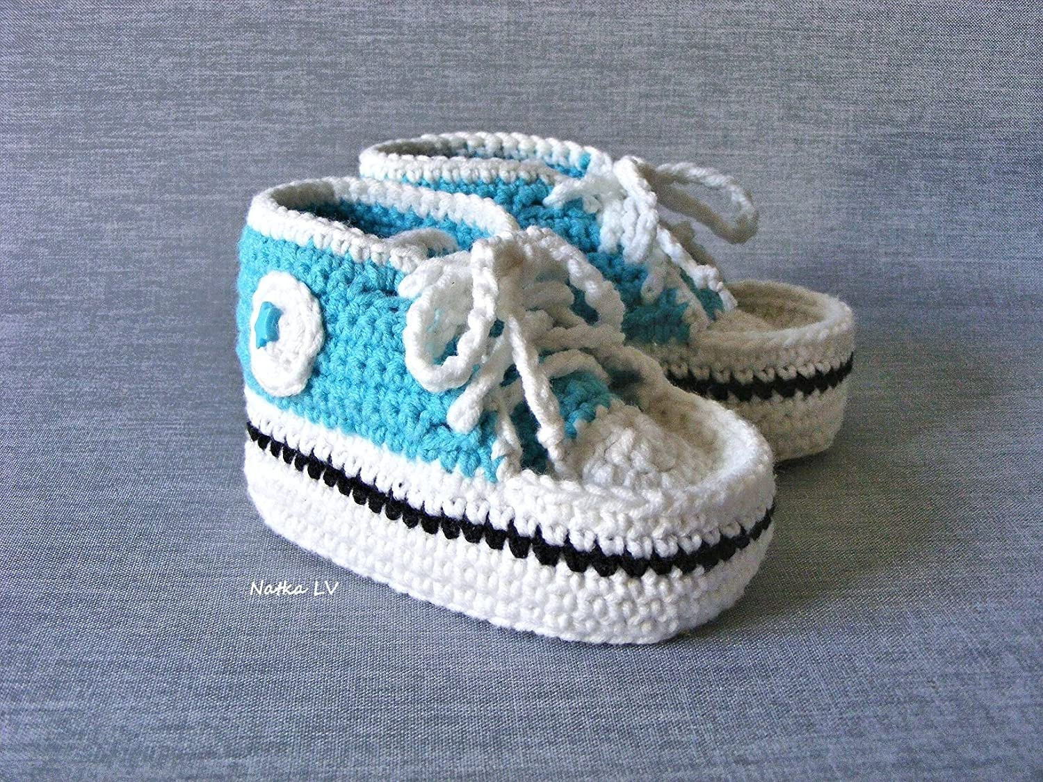 6a0f6cb4eff07 Amazon.com: Baby light blue booties, crochet baby boy summer booties ...