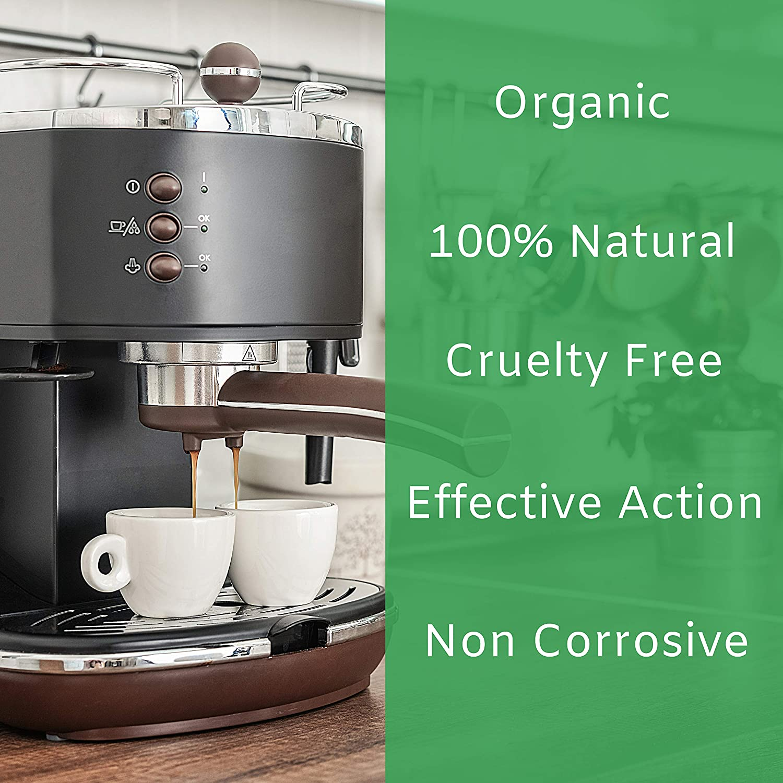 EcoDescalk Ecológico Concentrado (2x9 Descalcificaciones). Descalcificador 100% Natural. Limpiador para Cafeteras. Todas Las Marcas: Bosch, Nespresso, ...