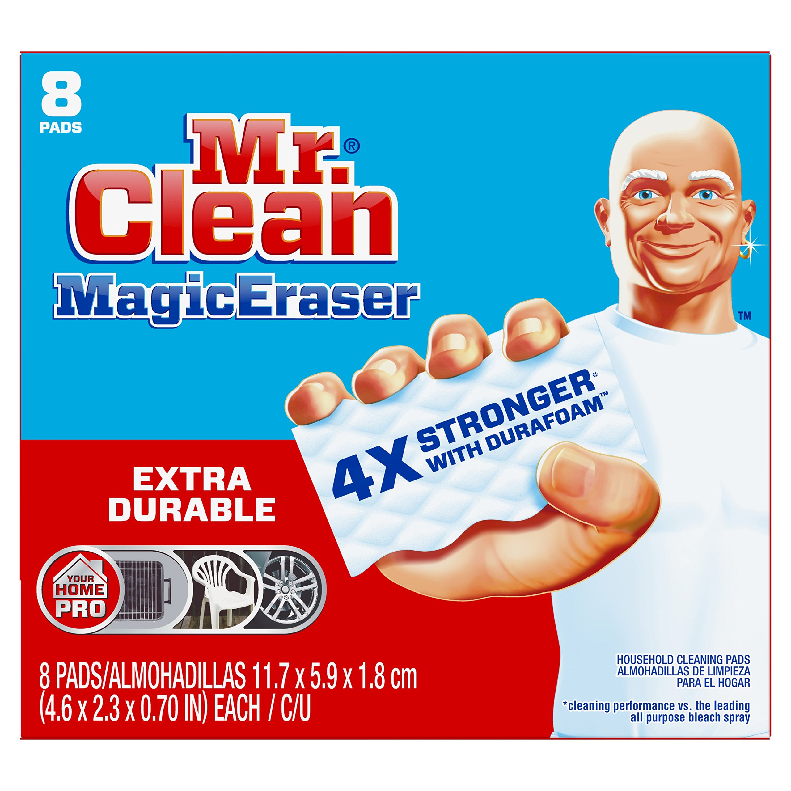 Mr Clean Magic Eraser Extra Durable, Cleaning Pads with Durafoam, 8 Count Box (Packaging May Vary)