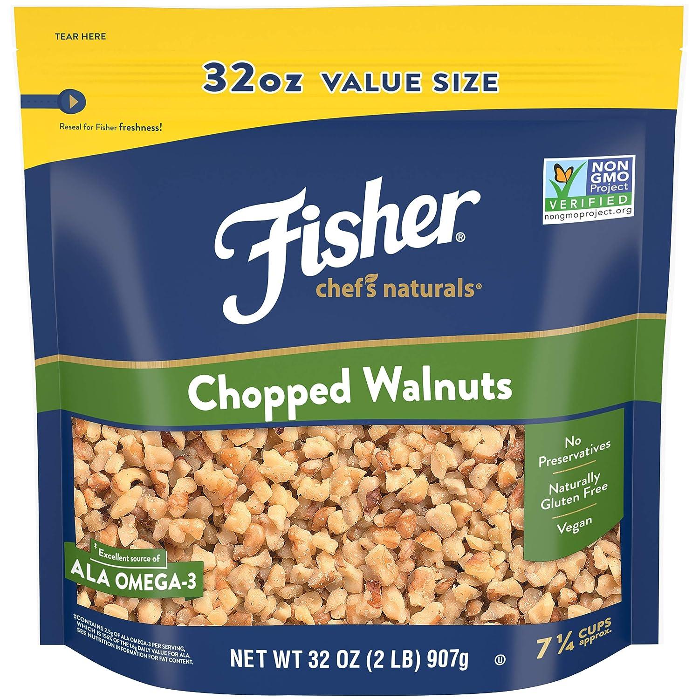 FISHER Chef's Naturals Chopped Walnuts, 32 oz, Naturally Gluten Free, No Preservatives, Non-GMO