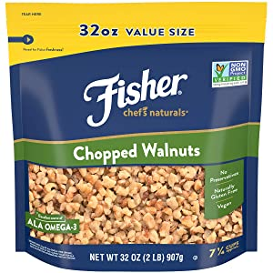 FISHER Chef's Naturals Chopped Walnuts, 32 oz, Naturally Gluten Free, No Preservatives, Non-GMO