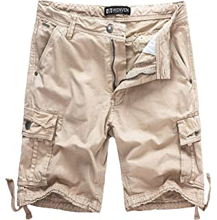 X-Future Mens Utility Outdoor Solid Color Loose Summer Multi-Pockets Cotton Cargo Shorts