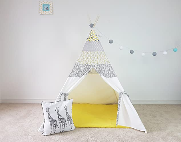Amazon.com: Kids Teepee Grey and Yellow Mood Polka Dot Tipi with ...
