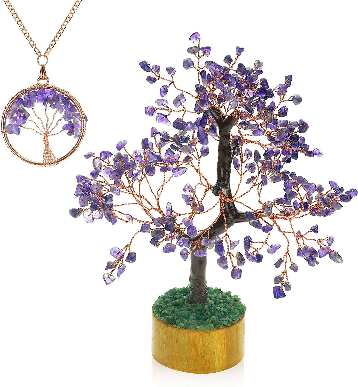 Ever Vibes Amethyst Chakra Gemstone Money Tree of Life [with Bonus Necklace] | Feng Shui Healing Crystal Chinese Oriental Home Décor Tree Figurine | Handmade Gift for Good Luck, Fortune, Wealth