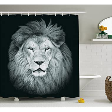 Ambesonne Safari Decor Collection, Portrait of Huge Male African Lion Head with Fire Mane Against Dark Background Image Print, Polyester Fabric Bathroom Shower Curtain, 75 Inches Long, Gray