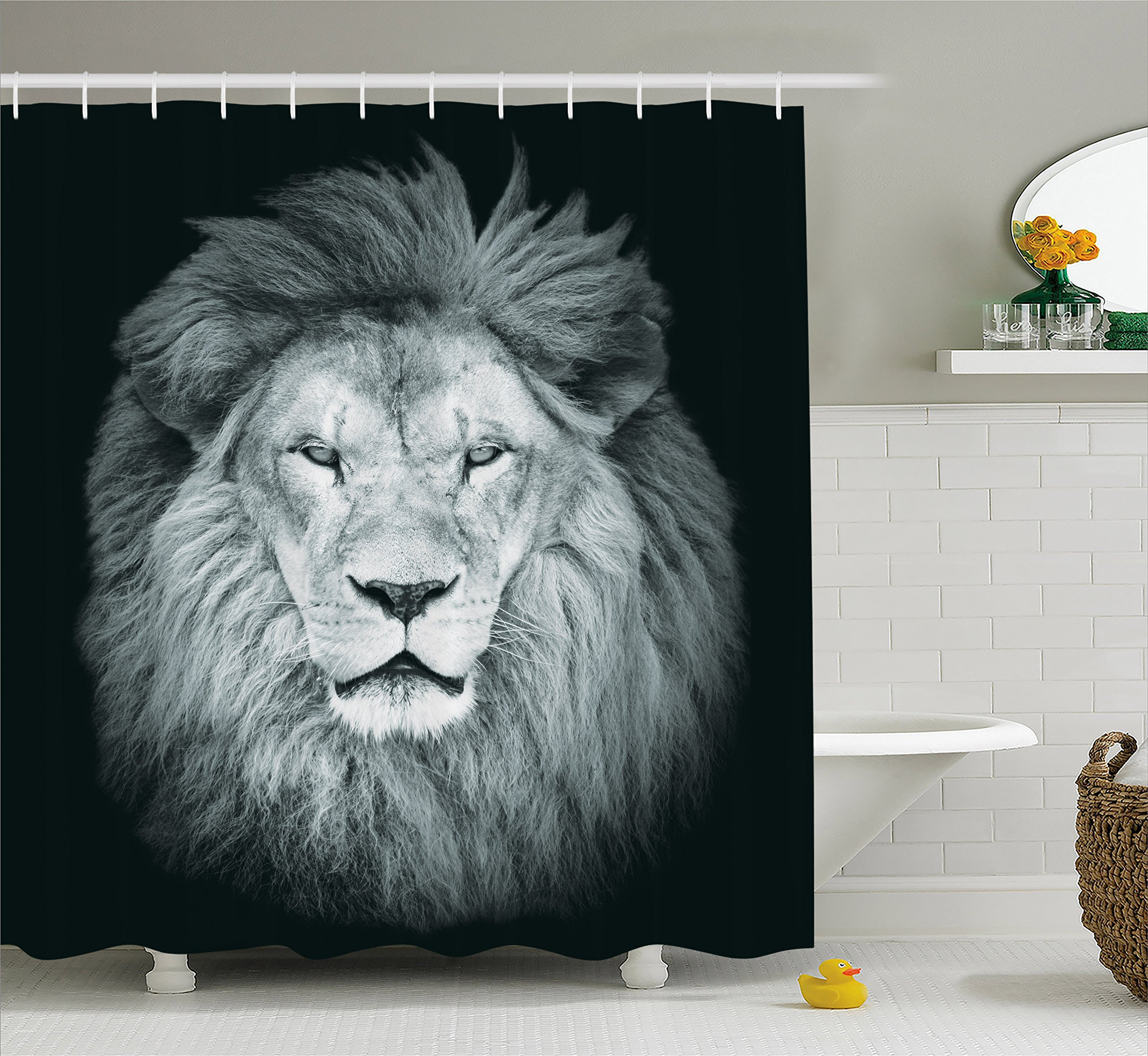 Ambesonne Safari Decor Collection, Portrait of Huge Male African Lion Head with Fire Mane Against Dark Background Image Print, Polyester Fabric Bathroom Shower Curtain, 84 Inches Extra Long, Gray