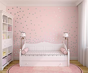 Amazon.com: Peel and Stick Metallic Silver Wall Decals Polka Dots ...