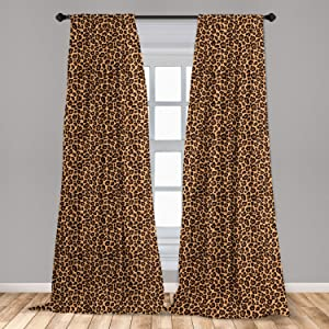 "Ambesonne Leopard Print Window Curtains, Leopard Texture Illustration Exotic Fauna Inspired Pattern, Lightweight Decorative Panels Set of 2 with Rod Pocket, 56"" x 63"", Orange Black"