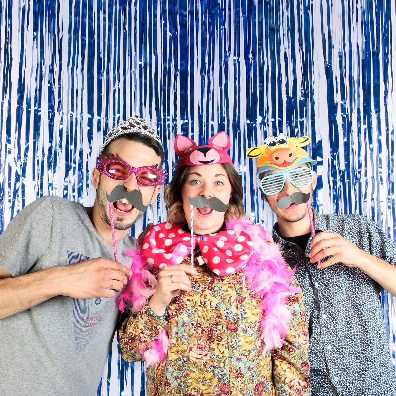 Super Z Outlet 3.2 ft x 9.8 ft Metallic Tinsel Foil Fringe Curtains for Party Photo Backdrop Wedding Decor Rainbow