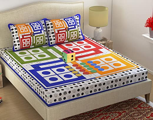 Fabture 100% Cotton 152TC Ludo Printed Double Bedsheet with 2 Pillow Covers, 1 Dice and 16 Tokens (Standard Size_Multicolour)