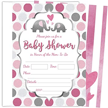 Amazon 25 Pink Elephant Girl Baby Shower Invitations 5x7 Inch