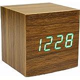 目覚まし時計、木製の時計デジタルキューブクリッククロック時間温度表示、音声とタッチは、ギフトの活性化 (褐色)