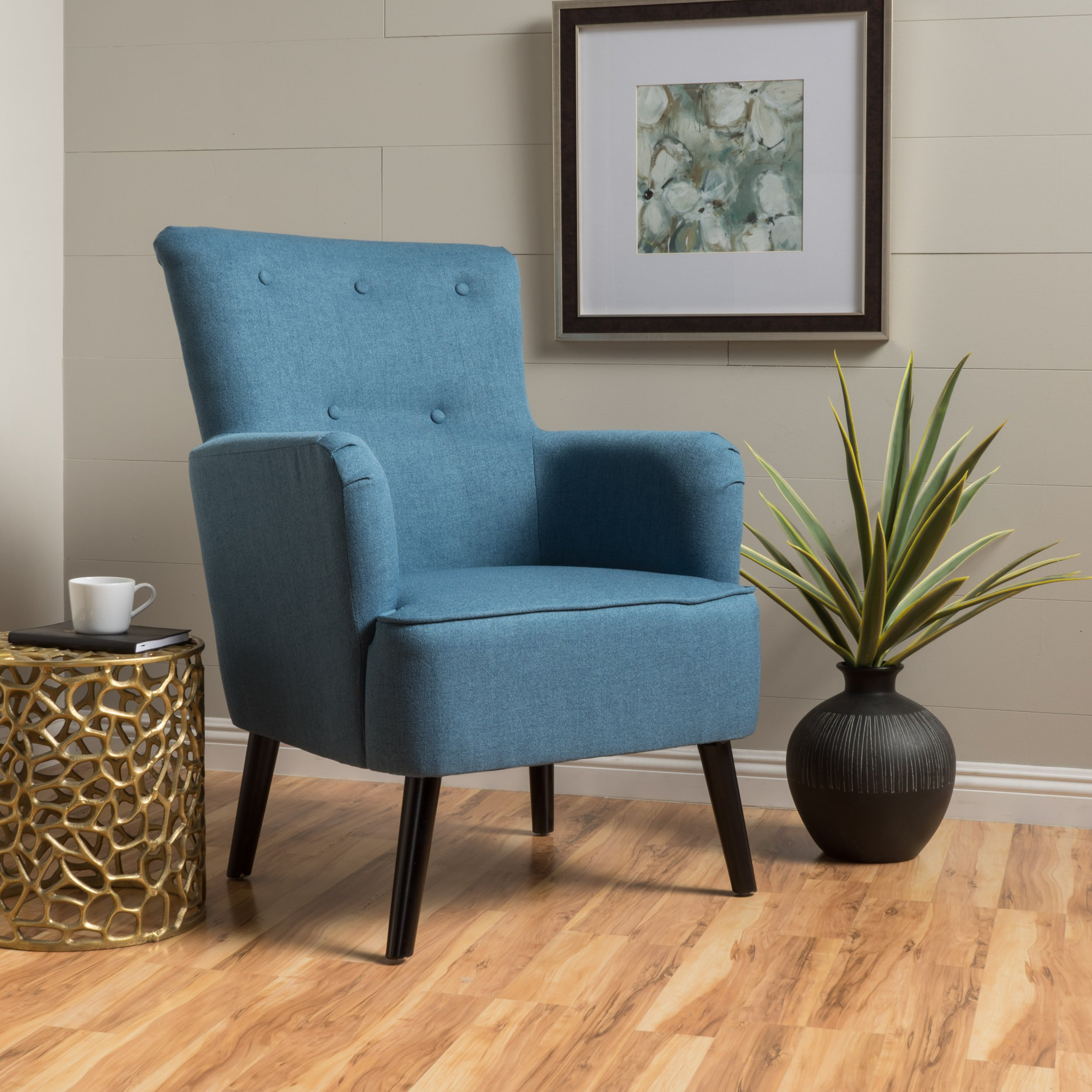 Fabulous Details About Wood Fabric Upholstered Mid Century Modern Tufted Accent Arm Chair Blue Living Caraccident5 Cool Chair Designs And Ideas Caraccident5Info