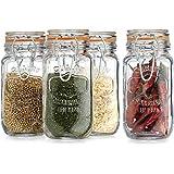 HC Elegant Home Airtight Glass Spice Jar Hermetic Seal Bail & Trigger/Jar with Lid 6 Ounce Each Use As Spice Canister Set of 4 6 Ounce Each