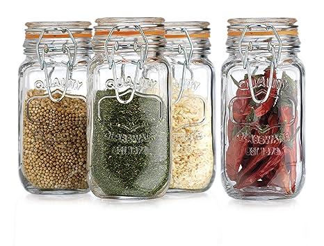 e3ef4308b014 HC Elegant Home Airtight Glass Spice Jar Hermetic Seal Bail & Trigger/Jar  with Lid 6 Ounce Each Use As Spice Canister Set of 4 6 Ounce Each