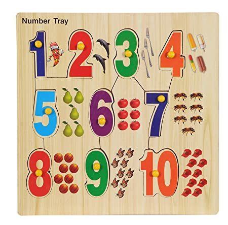 BabyGo Wooden Educational Identification Teaching Tray for with Knobs (Multi Color) (Counting)