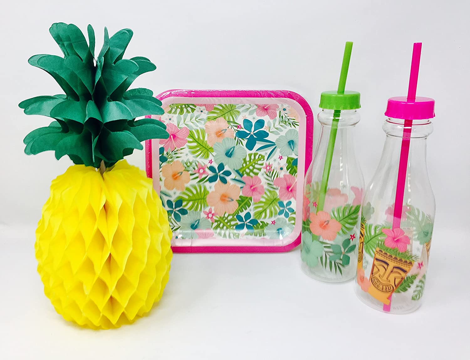 Tiki Hawaiian Party Plate Bundle with Plates, Table Decoration and 2 Tropical Luau Water Bottles