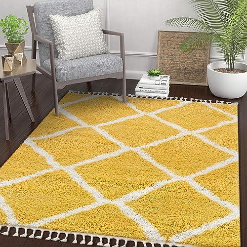Well Woven Celina Yellow Moroccan Shag Diamond Trellis Pattern Area Rug 5×7 5 3 x 7 3