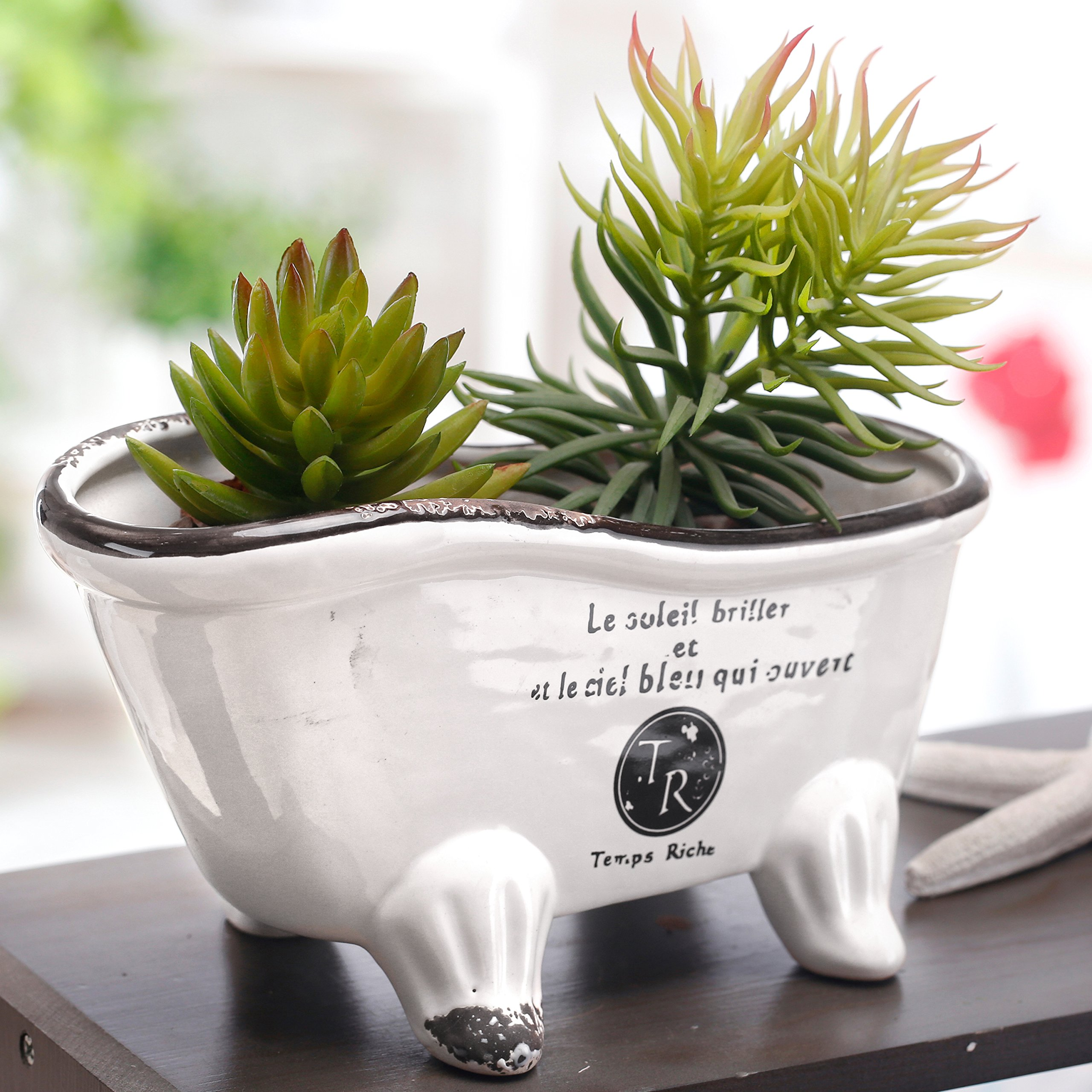 9-Inch, White Ceramic French Country Style Bathtub Succulent Planter, Soap Dish