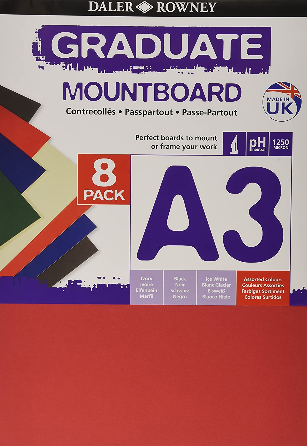 Daler Rowney Assorted A2 Graduate Mountboard Pack of 5