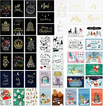 Amazon.com: 48 tarjetas de felicitación navideñas únicas ...