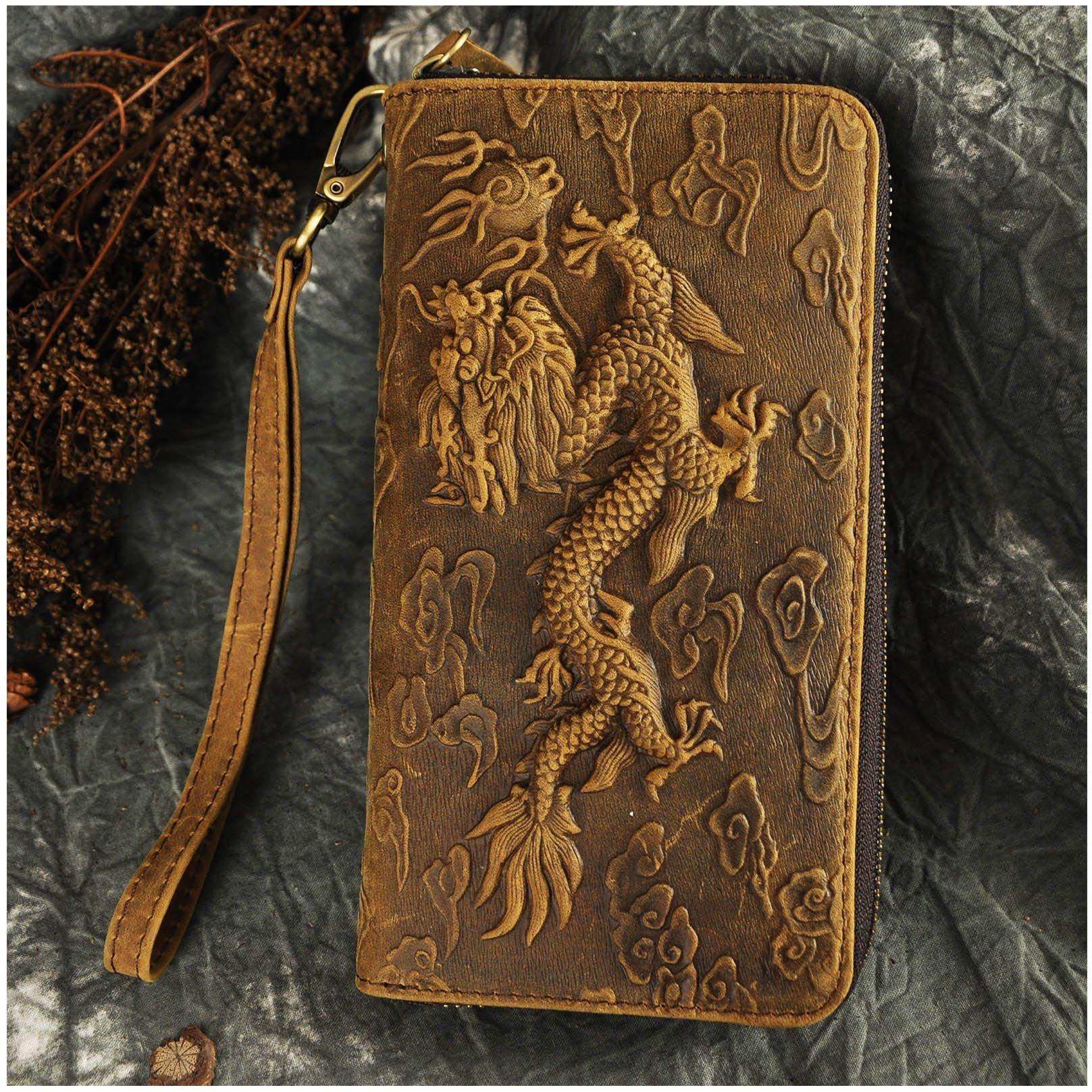Le'aokuu Unisex Genuine Leather Bifold Wallet Purse Organizer Dragon Embossed (Brown)