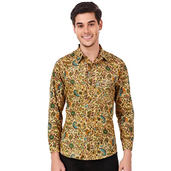 fe613fa7c8f7 Gajari 2019 New in Fashion Men's Beautiful Printed Full Sleeve Cotton Floral  Shirt (Medium)