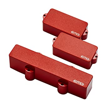 EMG PJ Active Bass Guitar Pickup Set, Red