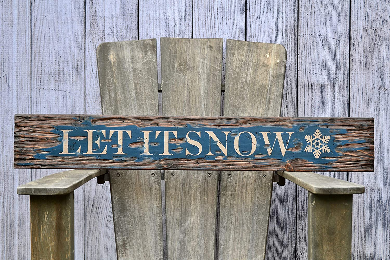 Holiday Sign Let is Snow Reclaimed Wood Sign