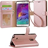 Galaxy note 4 Case, Arae Samsung Galaxy Note 4 [Wrist Strap] Flip Folio [Kickstand Feature] PU leather wallet case with ID&Credit Card Pockets For Galaxy Note 4,Rosegold
