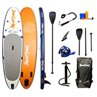"""Aquaplanet 10ft 6"""" x 15cm MAX Stand Up Paddleboard - Kit. Includes Hand Air Pump With Pressure Gauge, Adjustable Aluminium Floating Paddle, Repair Kit, Heavy Duty Rucksack, Premium Coiled Leash & 4 Kayak Seat Ring fittings"""