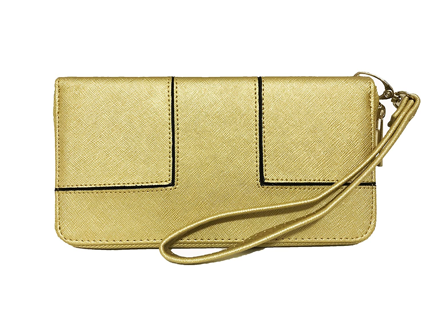 world-wide selection of real quality color brilliancy Women's Single Zip Around Saffiano Leather Wristlet Clutch Organizer Wallet  (Gold)